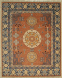 Handknotted Wool RUST Traditional Floral Khotan Weave  Rug