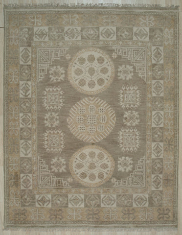 Handknotted Wool BROWN Traditional Floral Khotan Weave  Rug