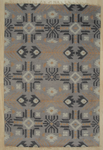 Handknotted Wool GREY Traditional Geometric Piled Navajo Rug