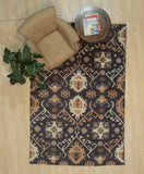 Handknotted Wool Black Traditional Geometric Oushak Rug