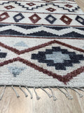 Handknotted Wool/Bamboo Silk IVORY Traditional Geometric Piled Navajo Rug