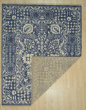 Handknotted Wool/Bamboo Silk BLUE Traditional Geometric Agra Rug