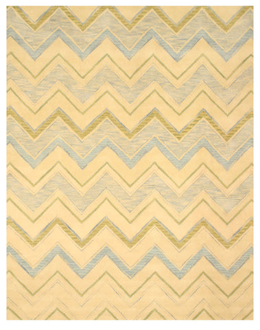 Hand-tufted Wool Ivory Contemporary Abstract Pastel Chevron Rug