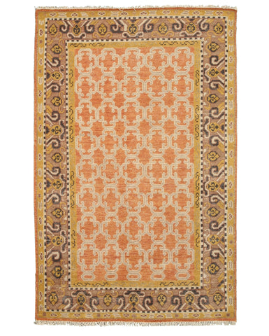 Hand-knotted Wool Orange Traditional Oriental Kotan Rug