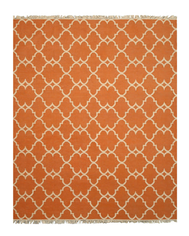 Handmade Polyester Orange Transitional Trellis Reversible Moroccan Outdoor Rug