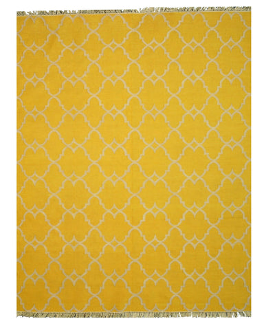 Handmade PolyesterYellow Transitional Trellis Reversible Moroccan Outdoor Rug