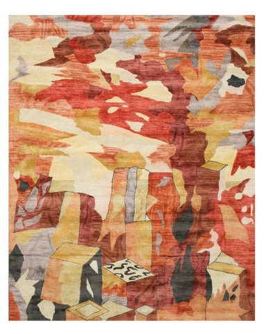 Multicolored Contemporary Bamboo Picaso Rug, 5' x 8'