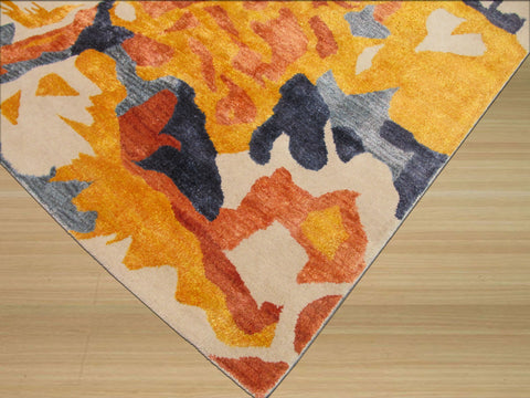 Hand-tufted Wool & Viscose Ivory Contemporary Abstract Bamboo Picaso Rug