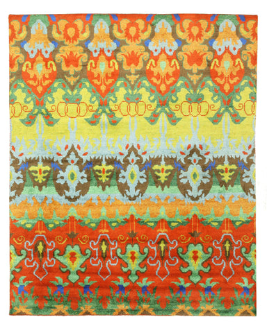 Hand-knotted Bamboo Silk Transitional Ikat Ikat Rug