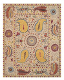 EORC IE61IV Hand Tufted Wool Paisley Rug, 8'9 x 11'9, Ivory
