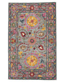 Hand-tufted Wool Blue Traditional Floral Suzani Rug