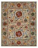 EORC IE62IV Hand Tufted Wool Suzani Rug, 8'9 x 11'9, Ivory