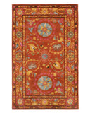 Hand-tufted Wool Rust Traditional Floral Suzani Rug