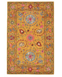 Hand-tufted Wool Yellow Traditional Floral Suzani Rug