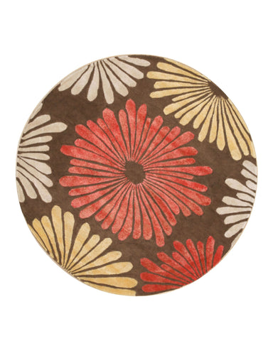 Brown Transitional Sunflower Rug