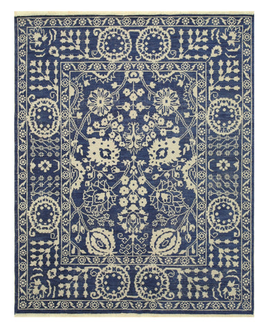 Hand-knotted Wool Blue Traditional Oriental Suzani Rug