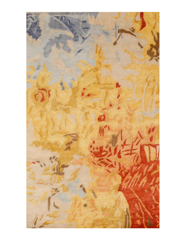Hand-tufted Viscose Gold Contemporary Abstract Palermo Rug