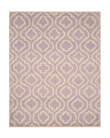 Hand-knotted Wool Purple Contemporary Trellis Moroccan Rug