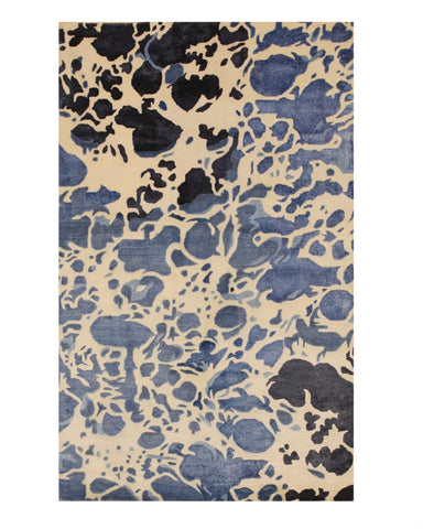 Hand-tufted Wool/Viscose Ivory Contemporary Abstract Palermo Rug