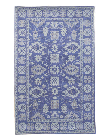 Hand-tufted Wool Blue Traditional Oriental Overdyed Rug