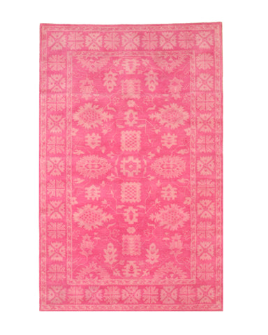 Hand-tufted Wool Pink Traditional Oriental Overdyed Rug
