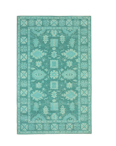 Hand-tufted Wool Green Traditional Oriental Overdyed Rug