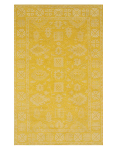 Hand-tufted Wool Yellow Traditional Oriental Overdyed Rug