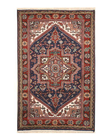Hand-knotted Wool Blue Traditional Geometric Heriz Rug