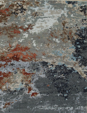 Hand-knotted Wool Charcoal Contemporary Abstract Galaxy Rug