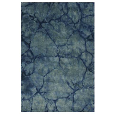 Handmade Wool Blue Contemporary Abstract Dip Dyed Rug