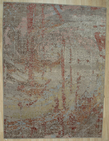 Hand-knotted Wool SILVER Contemporary Abstract Galaxy Rug