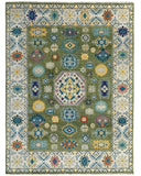 Handknotted Wool LT.GREEN / BEIGE Traditional Classic Kazak Collection Rug