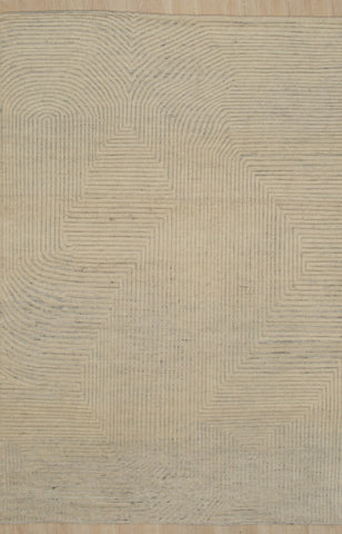 Handknotted Wool N.IVORY Transitional Modern Modern Kmot Rug