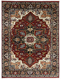 Handknotted Wool RED / RED Traditional Classic Heriz Serapi  Rug