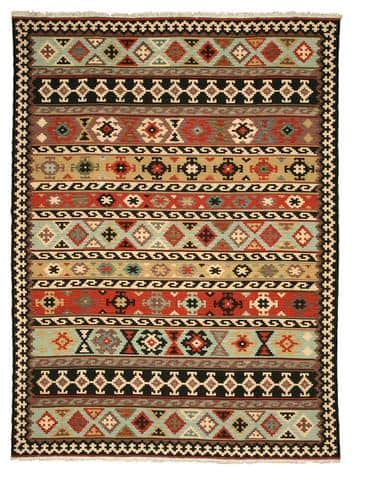 EORC KIL8MU Hand-knotted Wool Kyle Kilim Rug, 7'9 x 9'9, Multicolored