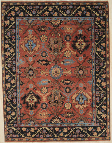 Handknotted Wool RUST / NAVY Traditional All Over Traditional Knot Rug