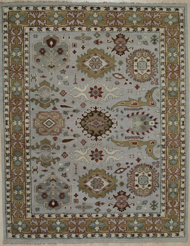 Handknotted Wool GREY / GOLD Traditional All Over Traditional Knot Rug