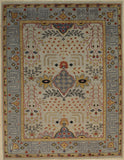 Handknotted Wool SILVER / PURPLE Traditional Medallion Traditional Knot Rug