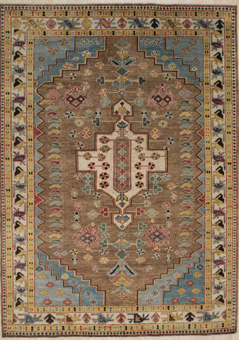 Handknotted Wool BROWN Traditional Medallion Traditional Knot Rug