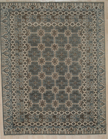 Handknotted Wool GREY Traditional Geometric Traditional Knot Rug