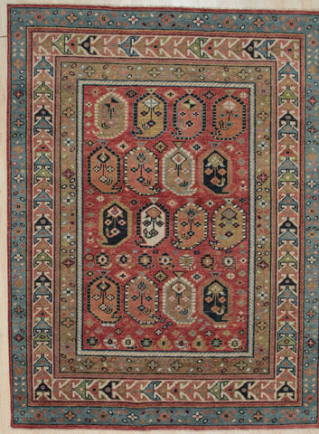 Handknotted Wool P. RED Traditional All Over Traditional Knot Rug