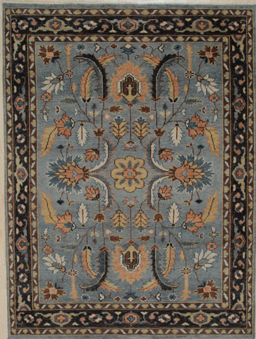 Handknotted Wool GREY / NAVY Traditional All Over Traditional Knot Rug