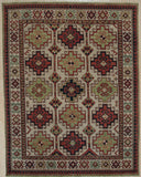 Handknotted Wool BEIGE Traditional Geometric Traditional Knot Rug