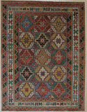 Handknotted Wool BROWN Traditional Geometric Traditional Knot Rug