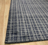 Handmade Wool & Viscose Blue   Loom Check Rug