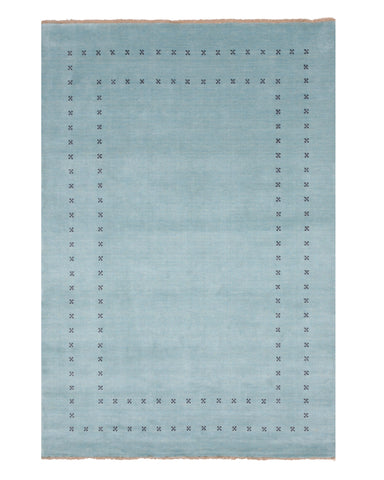 Handmade Wool Blue Transitional Solid Lori Baft Rug