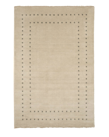 Handmade Wool Beige Transitional Solid Lori Baft Rug