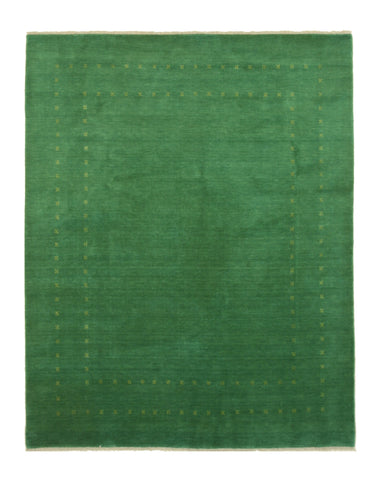Handmade Wool Green Traditional Solid Lori Baft Rug