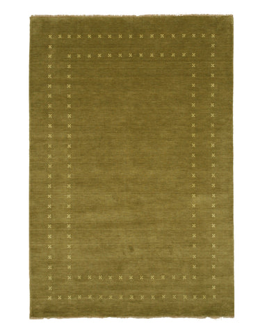 Handmade Wool Green Transitional Solid Lori Baft Rug