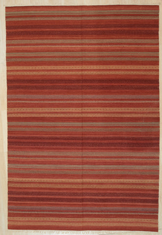 Handwoven Wool Red Contemporary Geometric Mahi Killim Rug